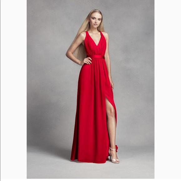 be570f141d654 White by Vera Wang Dresses | Red Vera Wang Halter Bridesmaid Dress ...